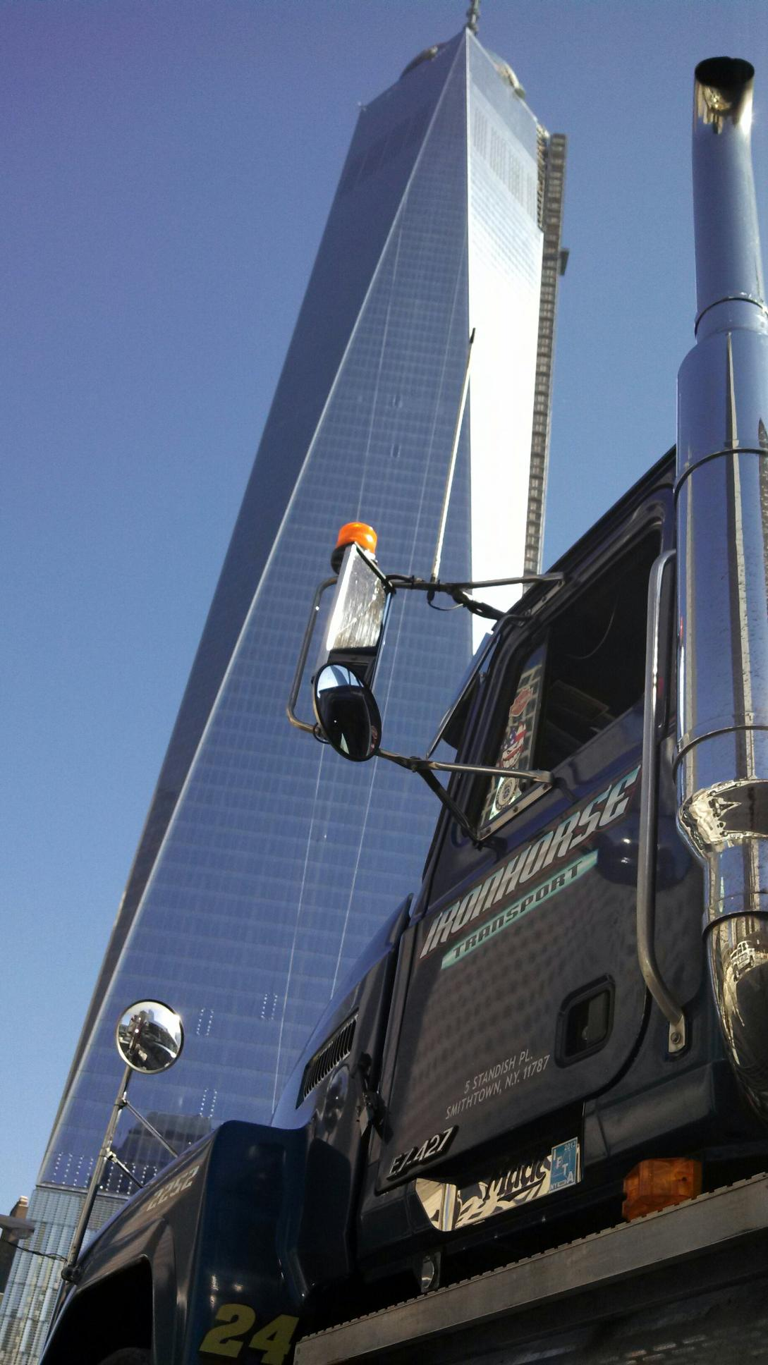 Iron Horse Transport Truck parked in front of Freedom Tower NYC