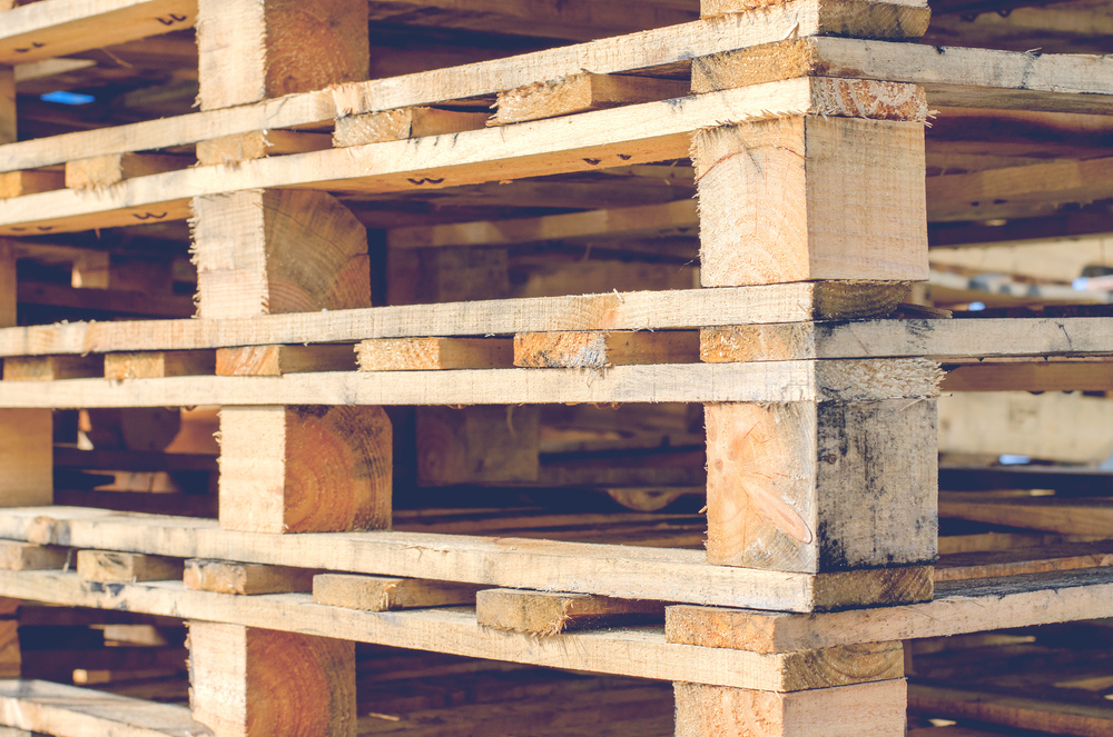 Wooden Pallet Overlap in Warehouse for Shipment