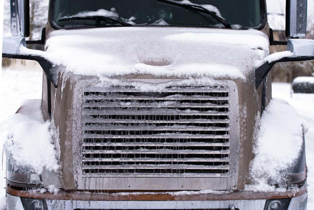 modern truck in winter
