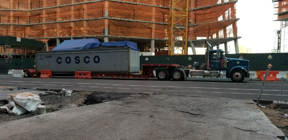 Iron Horse Transport loading out of gauge cargo for shipment