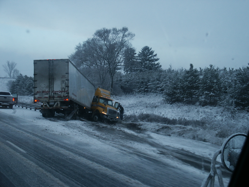 Jackknifed truck - Accident On Winter Day